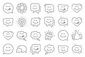 Yummy Smile Line Icons. Emoticon Speech Bubble, Social Media Message, Smile With Tongue. Tasty Food  poster