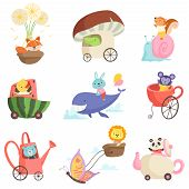 Cute Baby Animals In Transport Set, Fox, Crocodile, Squirrel, Chicken, Bunny, Bear, Lion, Monkey, Pa poster