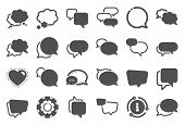 Speech Bubbles Icons. Social Media Message, Comic Bubbles And Chat. Think Sticker, Comment Speech An poster