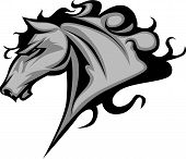 stock photo of mustang  - Graphic Mascot Vector Image of a Mustang Bronco Horse - JPG