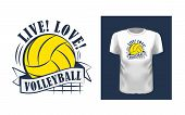 Live, Love, Volleyball T Shirt Print Design poster