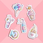 Cute Cartoon Little Princess Icon Set - Sweets Sweet Ice Cream, Cake, Cocktails, Donut And Lollipop. poster