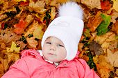 Adorable Little Baby Girl In Autumn Park On Cold October Day With Oak And Maple Leaf. Fall Foliage.  poster