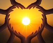 International Day Of Friendship Concept:  Many People Hands In Shape Of Heart On Blurred Beautiful   poster