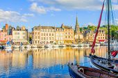 Scene Of Vieux Port (old Harbor), Houses And Boats In Honfleur, France Honfleur Is Located In Calvad poster
