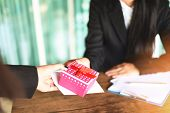 Asian Business Woman Receiving Salary Bonus Money And Gift Box From Boss Or Manager At Office Happil poster