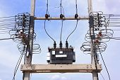 Electric transformer against Blue Sky