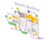 Vector Mobile Internet Banking App Illustration. Smartphone With Bank Application Login Page, Accoun poster