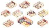 Vector Isometric School Or College Building Cross-section. Classrooms, Basketball Gym, Lecture Hall, poster