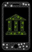Glowing Mesh Mobile Bank With Glitter Effect. Abstract Illuminated Model Of Mobile Bank Icon. Shiny  poster