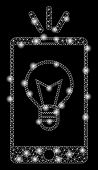 Glowing Mesh Mobile Lamp Light With Glitter Effect. Abstract Illuminated Model Of Mobile Lamp Light  poster