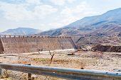 Wall Of Wadi Al Mujib Dam In Mountain Valley