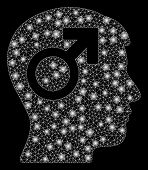 Glossy Mesh Male Symbol Head With Glitter Effect. Abstract Illuminated Model Of Male Symbol Head Ico poster