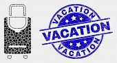 Pixelated Voyage Luggage Mosaic Pictogram And Vacation Seal Stamp. Blue Vector Rounded Distress Stam poster