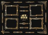 Art Deco Elements. Gold Wedding Deco Frame Border, Classic Dividers And Corners. 1920s Retro Luxury  poster