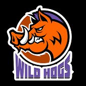 Wild Hog Head Mascot, Colored Version. Great For Sports Logos & Team Mascots. poster