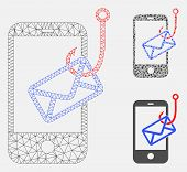 Mesh Smartphone Mail Phishing Model With Triangle Mosaic Icon. Wire Carcass Polygonal Mesh Of Smartp poster