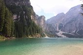 Braies Lake At Summer. Largest Natural Lake In Dolomites, South Tyrol, Italy, Europe. Beauty Of Natu poster