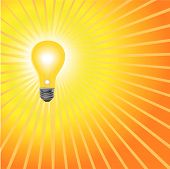 Light Bulb Shines Radiant Yellow.Eps