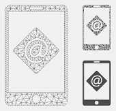 Mesh Mobile Email Model With Triangle Mosaic Icon. Wire Carcass Triangular Mesh Of Mobile Email. Vec poster