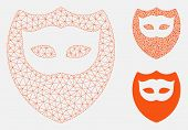 Mesh Mask Shield Model With Triangle Mosaic Icon. Wire Carcass Polygonal Network Of Mask Shield. Vec poster
