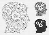 Mesh Mind Gears Model With Triangle Mosaic Icon. Wire Frame Polygonal Mesh Of Mind Gears. Vector Com poster
