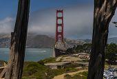 Golden Gate Bridge In San Francisco California On A Morning Sunrise poster