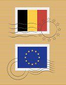 Flag Of Belgium And European Union