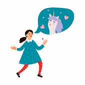 Girls Dream. Cute Cartoon Girl Dreams About Unicorn. Vector Happy Print Isolated On White Background poster