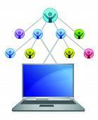 laptop and social network grid illustration over white