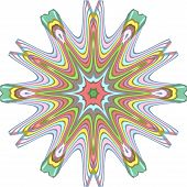 Multiply colored eighteen pointed stars