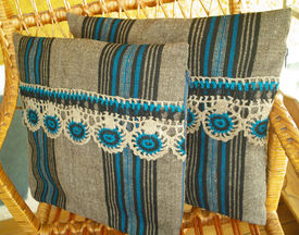 stock photo of pillowcase  - Vintage pillowcase handwoven  - JPG