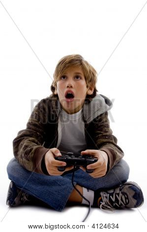 poster of Front View Of Amazed Kid Playing Computer Game