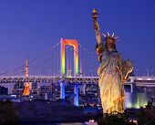 TOKYO - JANUARY 4: Statue of Liberty, Rainbow Bridge and Tokyo Tower seen from Odaiba January 4, 201