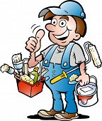 Hand-drawn Vector Illustration Of An Happy Painter Handyman, Giving Thumb Up