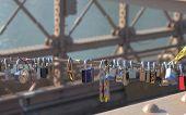 Love locks at the Brooklyn Bridge