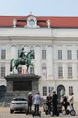 Segway Tour Excursion In Front Of Statue Of Josef Ii In Vienna, Austria