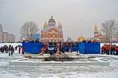 Kiev - Jan 19: Epiphany (kreshchenya) Morning Near Svjato-pokrovskiy Cathedral On January 19, 2013 I