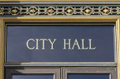 City Hall sign in San Francisco, California.