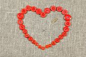 Heart Of Red Buttons Pierced Needle