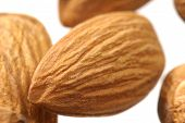 stock photo of fibrin  - Studio macro shot of brown almonds isolated on a white background - JPG
