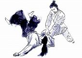 pic of aikido  - A hand drawn illustration of aikido warriors - JPG