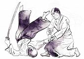 stock photo of aikido  - A hand drawn illustration of aikido warriors - JPG