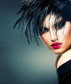 Fashion Art Girl Portrait. Punk Style Model. Vogue Style. Glamour Woman