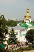 Worshippers are visiting Kiev Pechersk Lavra - main sacred orthodox christian monastery of Kiev