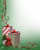 Christmas Gifts Border With Ribbons