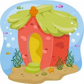 Illustration of a House Underwater