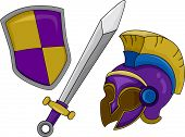 Illustration of Gladiator Helmet Shield and Sword