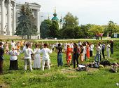 Ukrainian pagan people are praying to Perungod of Thunder in Slavic mythology,Kiev,Ukraine