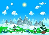 Landscape with snow and mountains. Vector illustration. The sides repeat seamlessly for a possible, continuous animation.